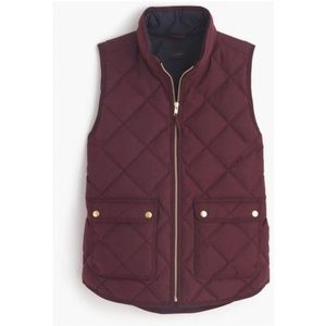 J. CREW BURGUNDY DOWN FILLED QUILTED PUFFER VEST